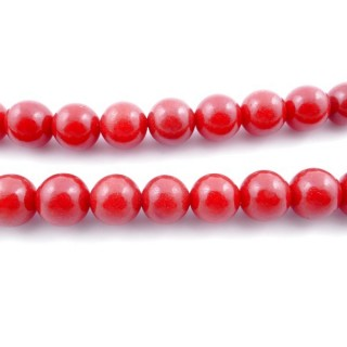 43734 40 CM STRING OF 12 MM BEADS OF SYNTHETIC CORAL
