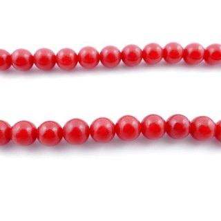 43730 40 CM STRING OF 8 MM BEADS OF SYNTHETIC CORAL