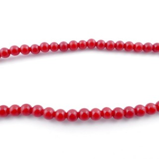 43728 40 CM STRING OF 6 MM BEADS OF SYNTHETIC CORAL