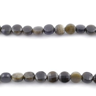 40423 40 CM STRING OF FACETED GOLD OBSIDIAN BUTTON SHAPED 6 MM BEAD