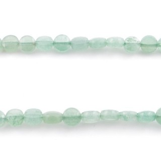 40773 40 CM STRING OF FACETED AVENTURINE BUTTON SHAPED 6 MM BEAD