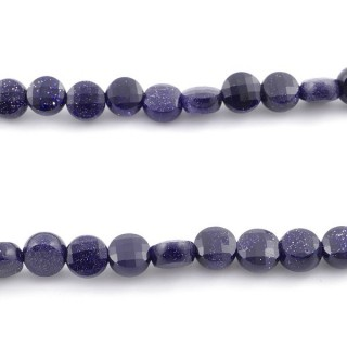 40873 40 CM STRING OF FACETED BLUE SANDSTONE BUTTON SHAPED 6 MM BEAD
