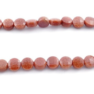 40923 40 CM STRING OF FACETED GOLD SANDSTONE BUTTON SHAPED 6 MM BEAD