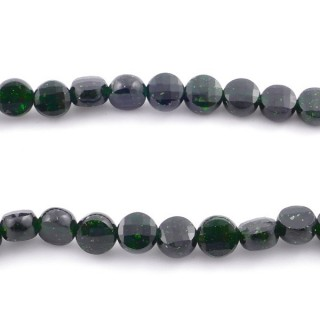 40874 40 CM STRING OF FACETED GREEN SANDSTONE BUTTON SHAPED 6 MM BEAD