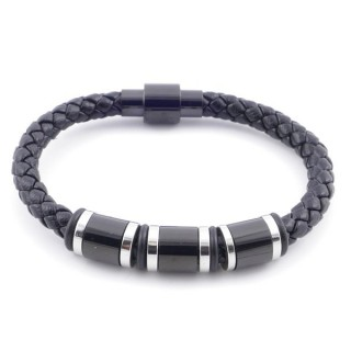 49609 STAINLESS STEEL ROUND LEATHER MEN'S BRACELET WITH MAGNETIC CLASP