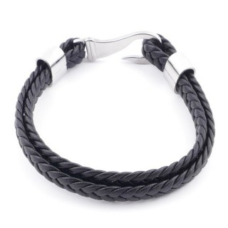 49601 PLATTED LEATHER AND STAINLESS STEEL MEN'S BRACELET WITH HOOK CLASP