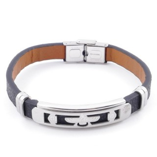 49622-03 STAINLESS STEEL AND PU LEATHER ADJUSTABLE BRACELET FOR MEN