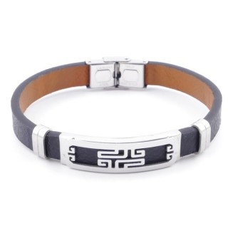 49622-04 STAINLESS STEEL AND PU LEATHER ADJUSTABLE BRACELET FOR MEN