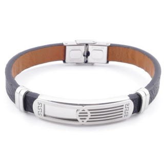 49622-05 STAINLESS STEEL AND PU LEATHER ADJUSTABLE BRACELET FOR MEN
