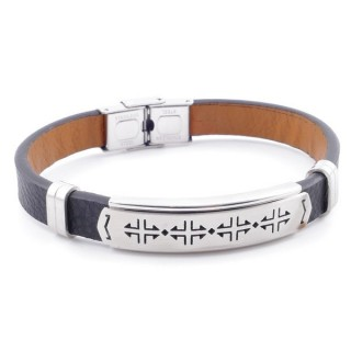 49622-07 STAINLESS STEEL AND PU LEATHER ADJUSTABLE BRACELET FOR MEN