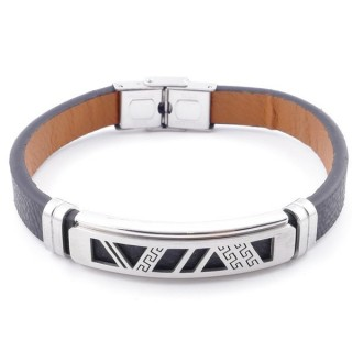 49622-09 STAINLESS STEEL AND PU LEATHER ADJUSTABLE BRACELET FOR MEN