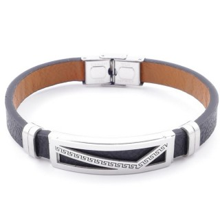 49622-10 STAINLESS STEEL AND PU LEATHER ADJUSTABLE BRACELET FOR MEN