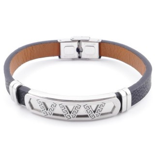 49622-11 STAINLESS STEEL AND PU LEATHER ADJUSTABLE BRACELET FOR MEN