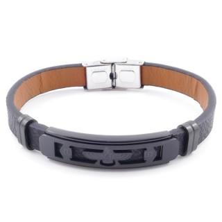 49622-12 STAINLESS STEEL AND PU LEATHER ADJUSTABLE BRACELET FOR MEN