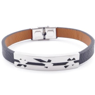 49622-13 STAINLESS STEEL AND PU LEATHER ADJUSTABLE BRACELET FOR MEN