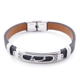 49622-14 STAINLESS STEEL AND PU LEATHER ADJUSTABLE BRACELET FOR MEN