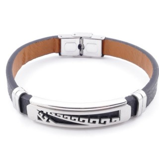 49622-15 STAINLESS STEEL AND PU LEATHER ADJUSTABLE BRACELET FOR MEN