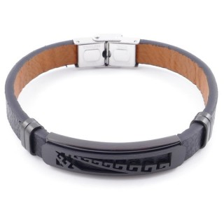 49622-16 STAINLESS STEEL AND PU LEATHER ADJUSTABLE BRACELET FOR MEN