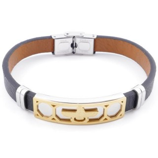 49622-17 STAINLESS STEEL AND PU LEATHER ADJUSTABLE BRACELET FOR MEN