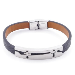 49622-19 STAINLESS STEEL AND PU LEATHER ADJUSTABLE BRACELET FOR MEN