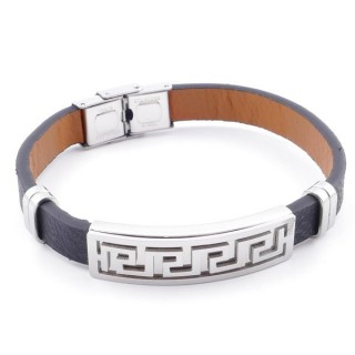 49622-20 STAINLESS STEEL AND PU LEATHER ADJUSTABLE BRACELET FOR MEN