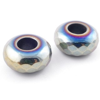 49648-11 PACK OF 2 RAINBOW HEMATITE 15 X 7 MM BEADS WITH 5 MM HOLE