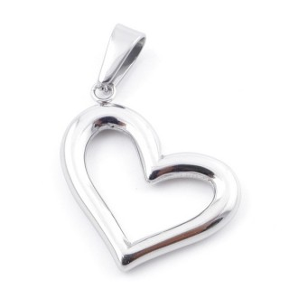 49558-03 HEART SHAPED STAINLESS STEEL 29 X 26 MM PENDANT