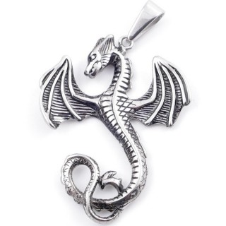49569 DRAGON SHAPED STAINLESS STEEL 52 X 41 MM PENDANT