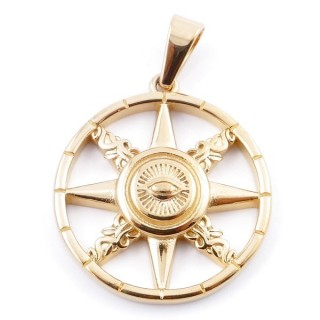 49568 ESOTERIC SYMBOL STAINLESS STEEL GOLD COLOURED 37 MM PENDANT