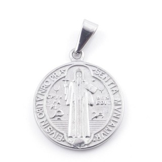 49562-01 DOUBLE SIDED SAINT BENEDICT STAINLES STEEL 22 MM PENDANT