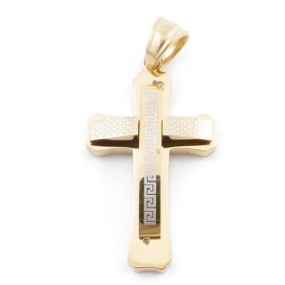 49546-04 STAINLESS STEEL CROSS SHAPED PENDANT 30 X 17 MM