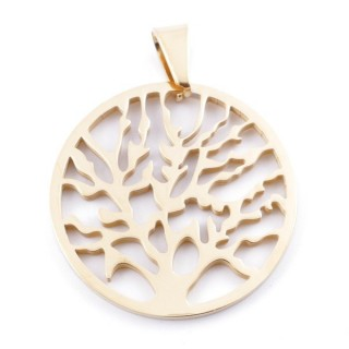 49546-01 STAINLESS STEEL 33 MM TREE OF LIFE PENDANT