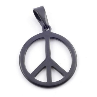 37926-06 BLACK STAINLESS STEEL 26 MM ROUND PEACE SYMBOL PENDANT