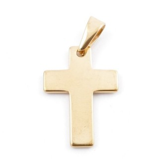 49556-17 CROSS SHAPED STAINLESS STEEL 28 X 20 MM PENDANT