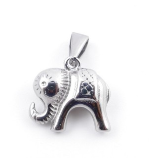 49557-05 STAINLESS STEEL PENDANT IN SHAPE OF ELEPHANT 16 X 17 MM