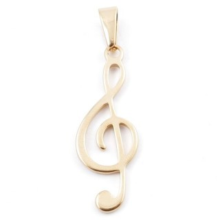 49556-13 STAINLESS STEEL PENDANT IN SHAPE OF TREBLE CLEF 41 X 14 MM