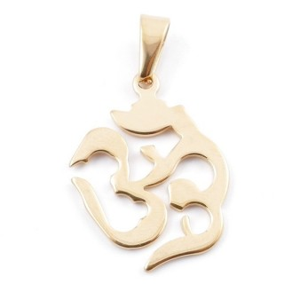 49556-12 STAINLESS STEEL PENDANT IN SHAPE OF OM 32 X 25 MM