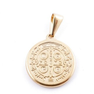 49556-19 STAINLESS STEEL PENDANT IN SHAPE OF SAINT BENEDICT MEDAL 17 MM