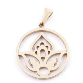 49556-16 STAINLESS STEEL PENDANT IN SHAPE OF LOTUS FLOWER 24 MM