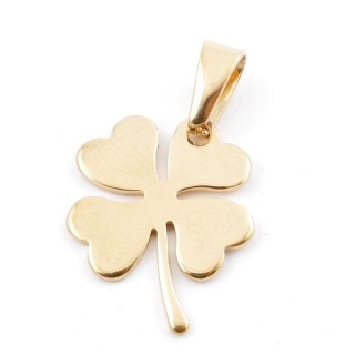 49556-08 STAINLESS STEEL PENDANT IN SHAPE OF FOUR LEAF CLOVER 25 X 20 MM