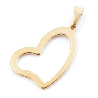 49556-06 STAINLESS STEEL PENDANT IN SHAPE OF HEART 35 X 23 MM