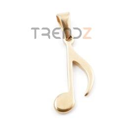 49555-02 COLGANTE DE ACERO DORADO DE NOTA MUSICAL 23 X 10 MM
