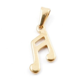 49555-03 STAINLESS STEEL MUSICAL NOTE 19 X 10 MM PENDANT
