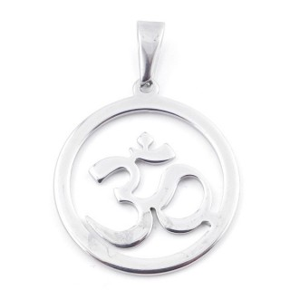 49555-04 ROUND 30 MM STAINLESS STEEL PENDANT WITH OM SYMBOL
