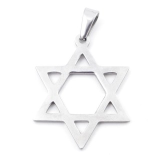 49555-06 STAR OF DAVID STAINLESS STEEL 39 X 30 MM PENDANT