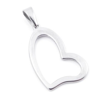 49555-07 HEART SHAPED STAINLESS STEEL 37 X 22 MM PENDANT