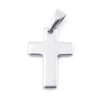 49555-11 CROSS SHAPED STAINLESS STEEL 29 X 21 MM PENDANT