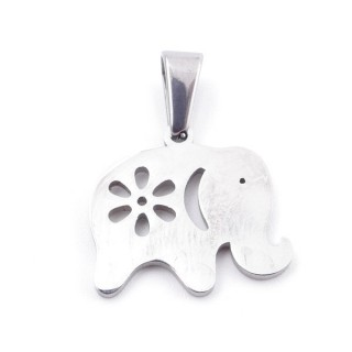 49554-04 STAINLESS STEEL 17 X 18 MM ELEPHANT SHAPED PENDANT