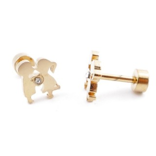 38534-21 GOLD STAINLESS STEEL EARRINGS WITH SCREW BACKS