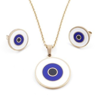 49632-01 EVIL EYE SET OF PENDANT, CHAIN AND EARRINGS IN STAINLESS STEEL